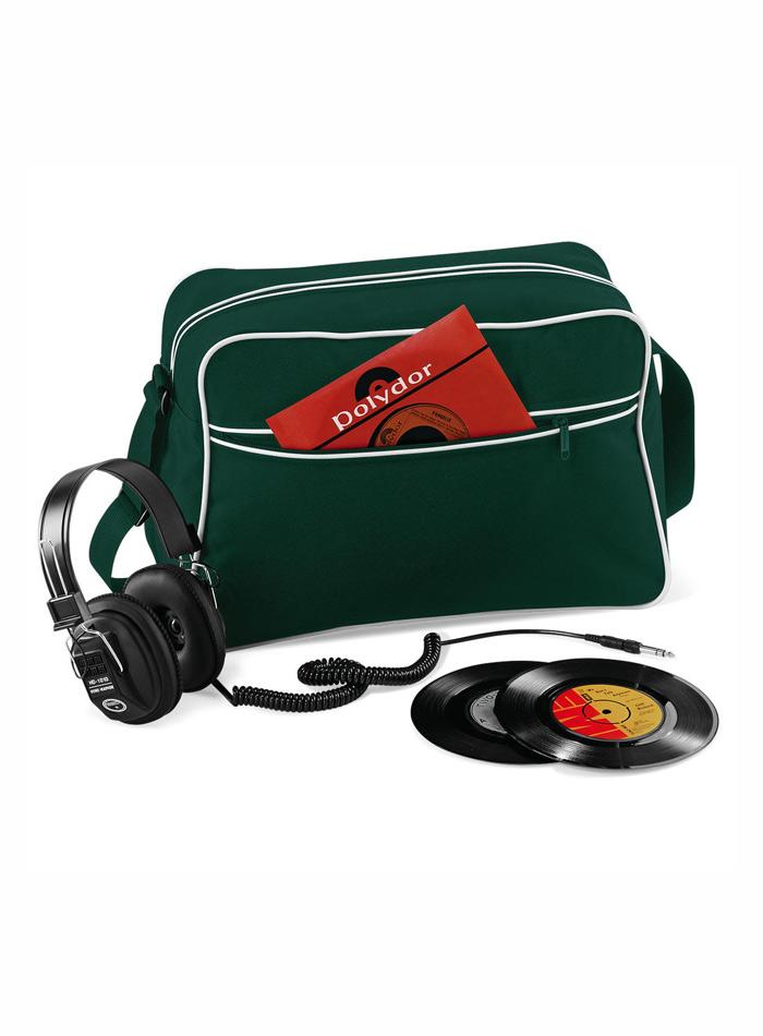 Retro taška přes rameno - Zelená a bílá univerzal