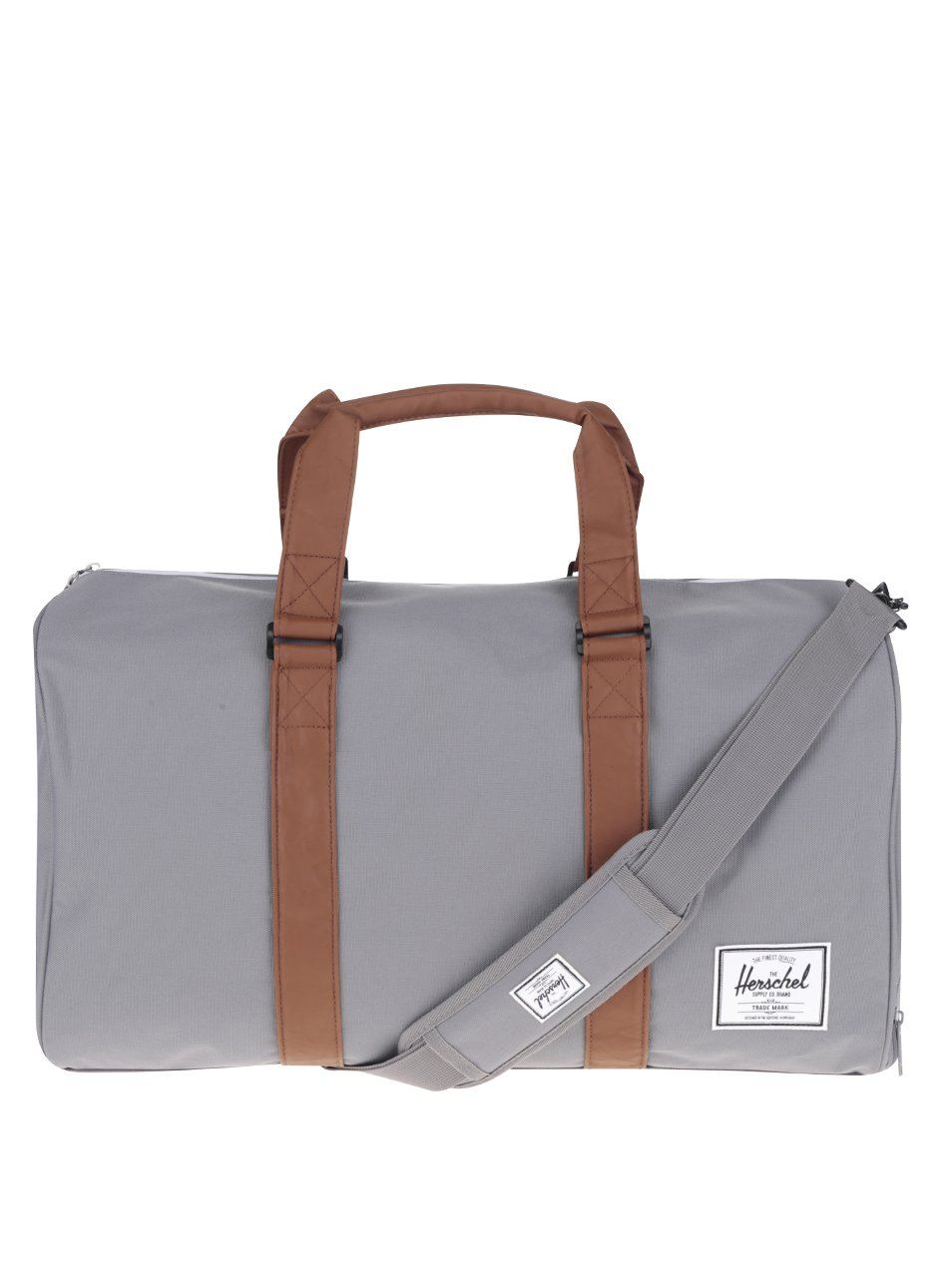 Šedá cestovní taška s hnědými popruhy Herschel Novel 42