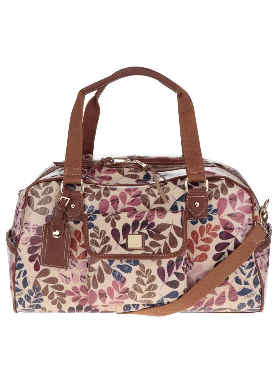 Hnědá květovaná cestovní taška s koženými detaily Liberty by Gionni Lea